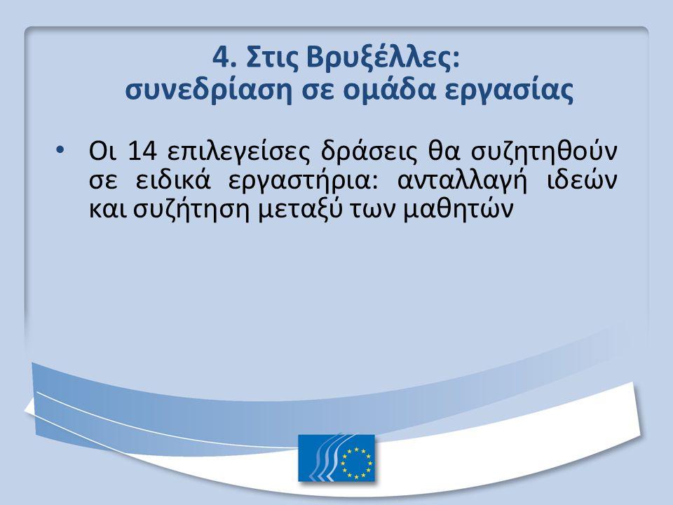4. Στις Βρυξέλλες: συνεδρίαση σε ομάδα εργασίας Οι 14 επιλεγείσες δράσεις θα συζητηθούν σε ειδικά εργαστήρια: ανταλλαγή ιδεών και συζήτηση μεταξύ των