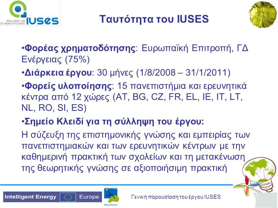 Γενική παρουσίαση του έργου IUSES Ταυτότητα του IUSES Φορέας χρηματοδότησης: Ευρωπαϊκή Επιτροπή, ΓΔ Ενέργειας (75%) Διάρκεια έργου: 30 μήνες (1/8/2008 – 31/1/2011) Φορείς υλοποίησης: 15 πανεπιστήμια και ερευνητικά κέντρα από 12 χώρες (AT, BG, CZ, FR, EL, IE, IT, LT, NL, RO, SI, ES) Σημείο Κλειδί για τη σύλληψη του έργου: Η σύζευξη της επιστημονικής γνώσης και εμπειρίας των πανεπιστημιακών και των ερευνητικών κέντρων με την καθημερινή πρακτική των σχολείων και τη μετακένωση της θεωρητικής γνώσης σε αξιοποιήσιμη πρακτική