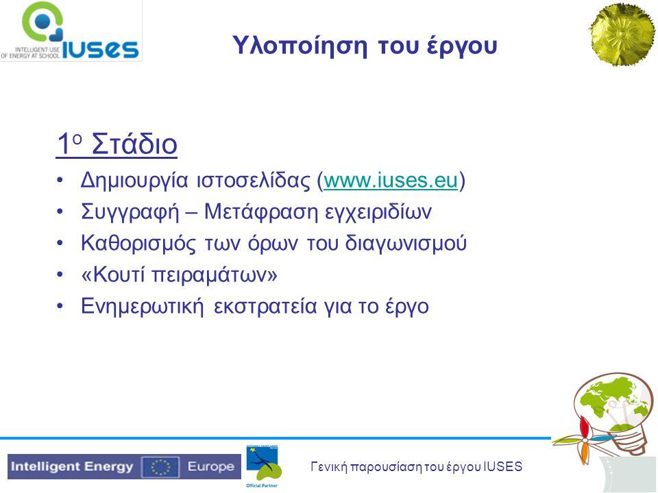 Γενική παρουσίαση του έργου IUSES Υλοποίηση του έργου 1 ο Στάδιο Δημιουργία ιστοσελίδας (www.iuses.eu)www.iuses.eu Συγγραφή – Μετάφραση εγχειριδίων Καθορισμός των όρων του διαγωνισμού «Κουτί πειραμάτων» Ενημερωτική εκστρατεία για το έργο
