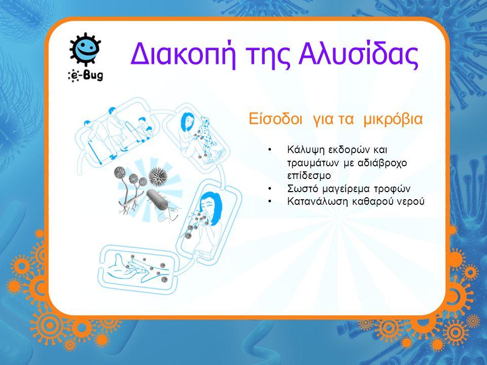 Διακοπή της Αλυσίδας Είσοδοι για τα μικρόβια Κάλυψη εκδορών και τραυμάτων με αδιάβροχο επίδεσμο Σωστό μαγείρεμα τροφών Κατανάλωση καθαρού νερού