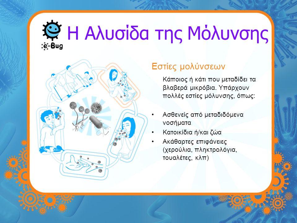 Η Αλυσίδα της Μόλυνσης Εστίες μολύνσεων Κάποιος ή κάτι που μεταδίδει τα βλαβερά μικρόβια. Υπάρχουν πολλές εστίες μόλυνσης, όπως: Ασθενείς από μεταδιδό