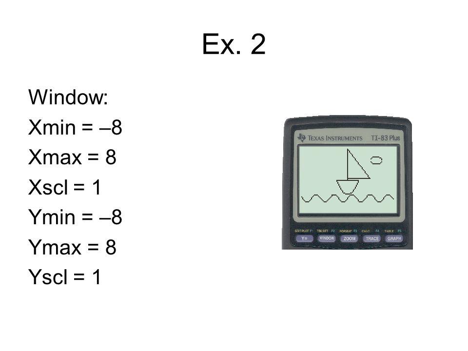 Equations Y1 = X² – 4 / (X ≥ –2 and X ≤ 2) Y2 = –0.3 / (X ≥ –2 and X ≤ 2) Y3 = –99X / (X ≤ 1/9999) Y4 = 0.3 / (X ≤ 4 and X ≥ 0) Y5 = –2x + 8 / (X ≤ 4 and X ≥ 0) Y6 = sin (2x) – 5 Y7 = 5 + √{1 – (X – 5)²} Y8 = 5 – √{1 – (X – 5)²}