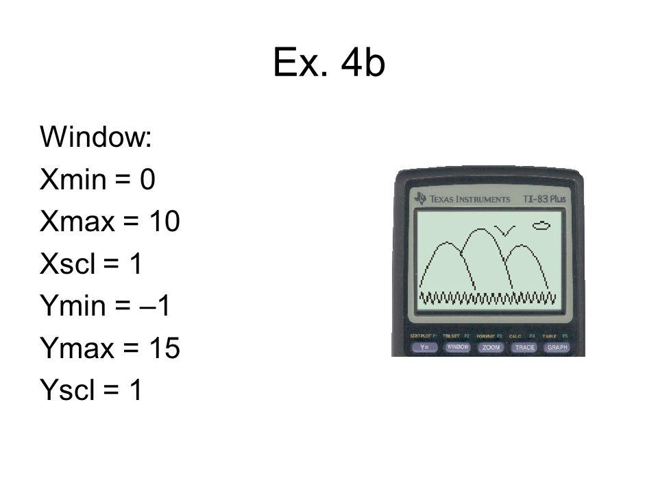 Ex. 4b Window: Xmin = 0 Xmax = 10 Xscl = 1 Ymin = –1 Ymax = 15 Yscl = 1