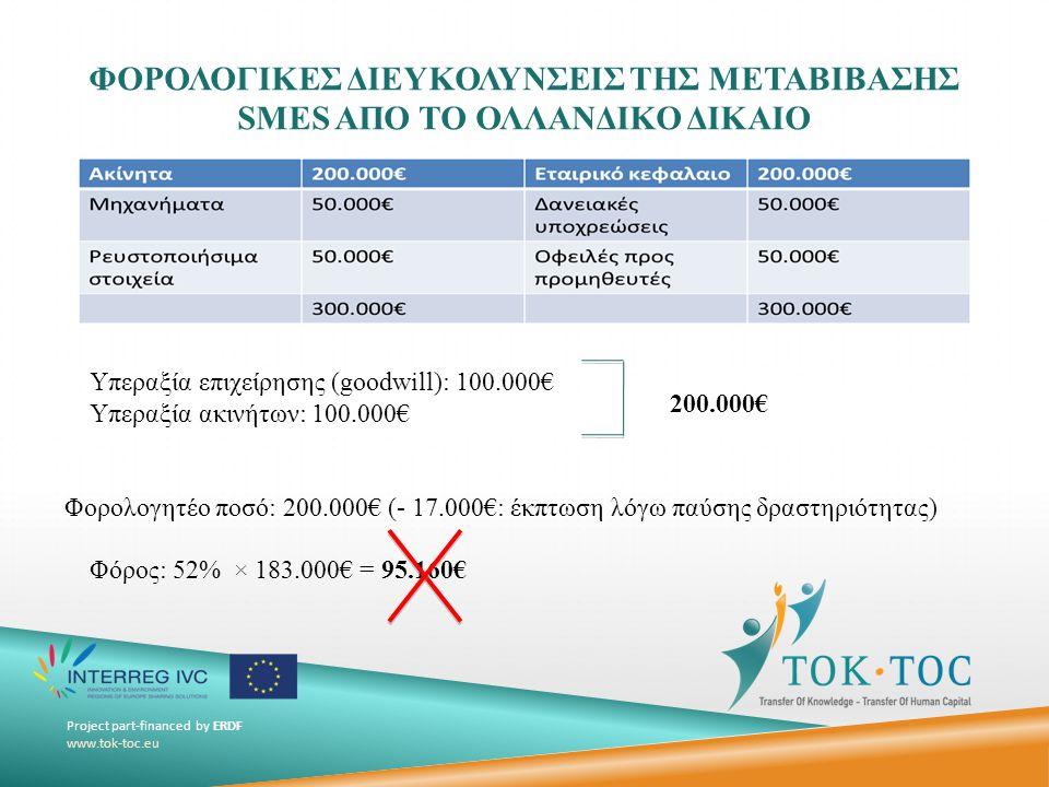 Project part-financed by ERDF www.tok-toc.eu ΣΙΩΠΗΛΗ ΜΕΤΑΒΙΒΑΣΗ (GERUISLOZE DOORSCHUIVING) (ΕΠΙΧΕΙΡΗΣΕΙΣ ΧΩΡΙΣ ΝΟΜΙΚΗ ΠΡΟΣΩΠΙΚΟΤΗΤΑ)  Μηδενική φορολόγηση της μεταβίβασης Προϋποθέσεις  Ο αποκτών πρέπει να συνεχίσει με τις ίδιες λογιστικές αξίες (δεν μπορεί να ενσωματώσει τις υπεραξίες και να μειώσει έτσι τις φορολογικές του υποχρεώσεις σε περίπτωση περαιτέρω μεταβίβασης στο μέλλον).