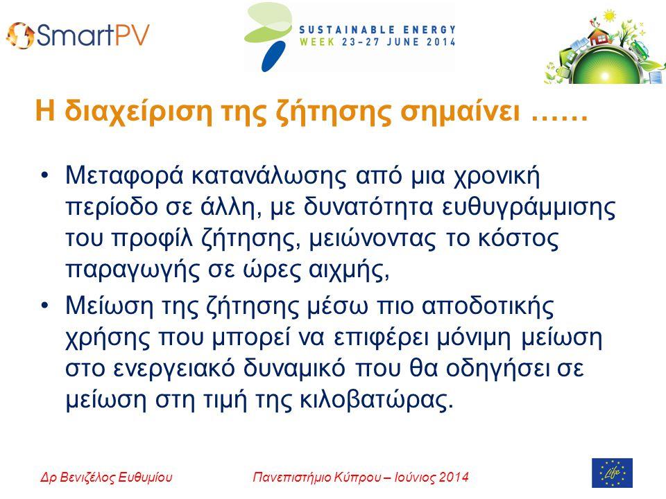 Πανεπιστήμιο Κύπρου – Ιούνιος 2014Δρ Βενιζέλος Ευθυμίου Η διαχείριση της ζήτησης σημαίνει …… Μεταφορά κατανάλωσης από μια χρονική περίοδο σε άλλη, με δυνατότητα ευθυγράμμισης του προφίλ ζήτησης, μειώνοντας το κόστος παραγωγής σε ώρες αιχμής, Μείωση της ζήτησης μέσω πιο αποδοτικής χρήσης που μπορεί να επιφέρει μόνιμη μείωση στο ενεργειακό δυναμικό που θα οδηγήσει σε μείωση στη τιμή της κιλοβατώρας.