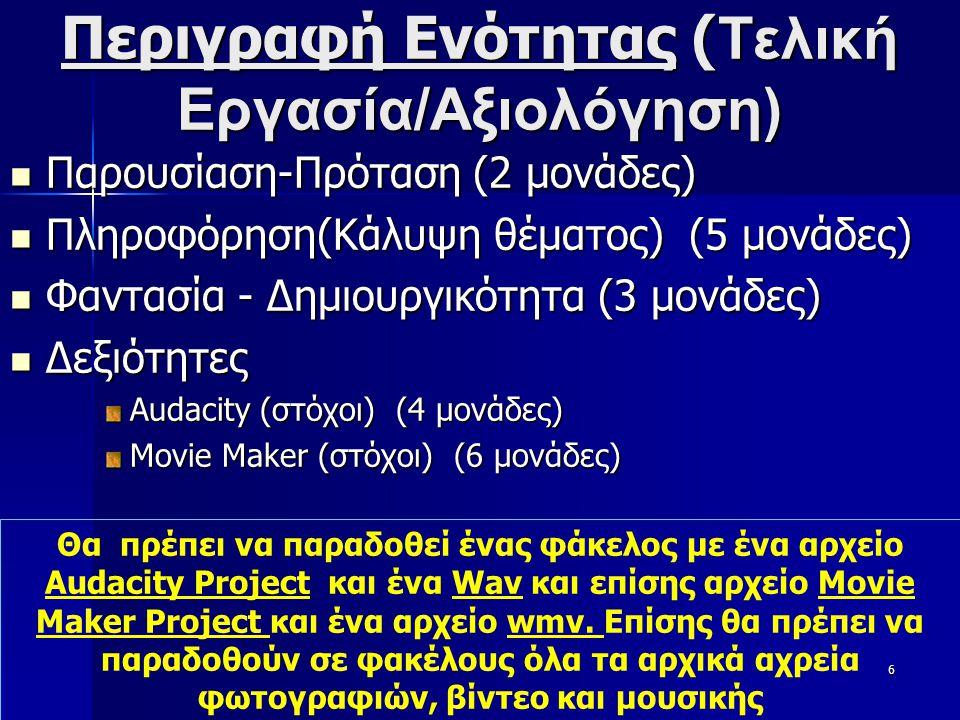 21/8/2014Ξένιος Αντωνιάδης5 Περιγραφή Ενότητας ( Αξιολόγηση)  Προφορικό (Δουλειά μέσα στην Τάξη, ενδιαφέρον, προσπάθεια, συνεργασία, Μεθοδικότητα ) 