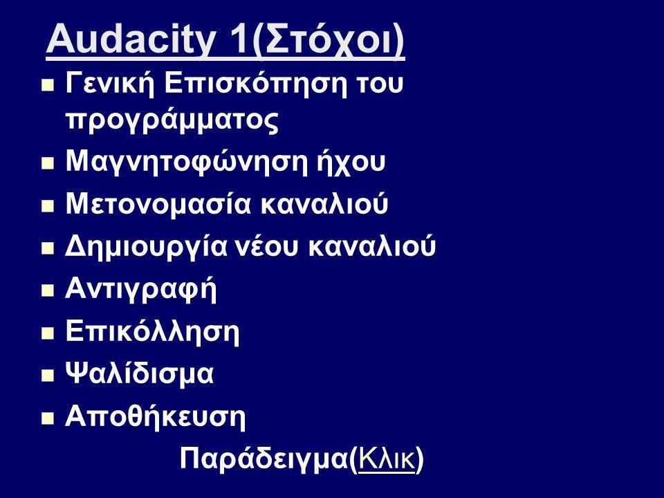 Εισαγωγή στο Audacity Εφόρμηση Κλικ Εφόρμηση Κλικ