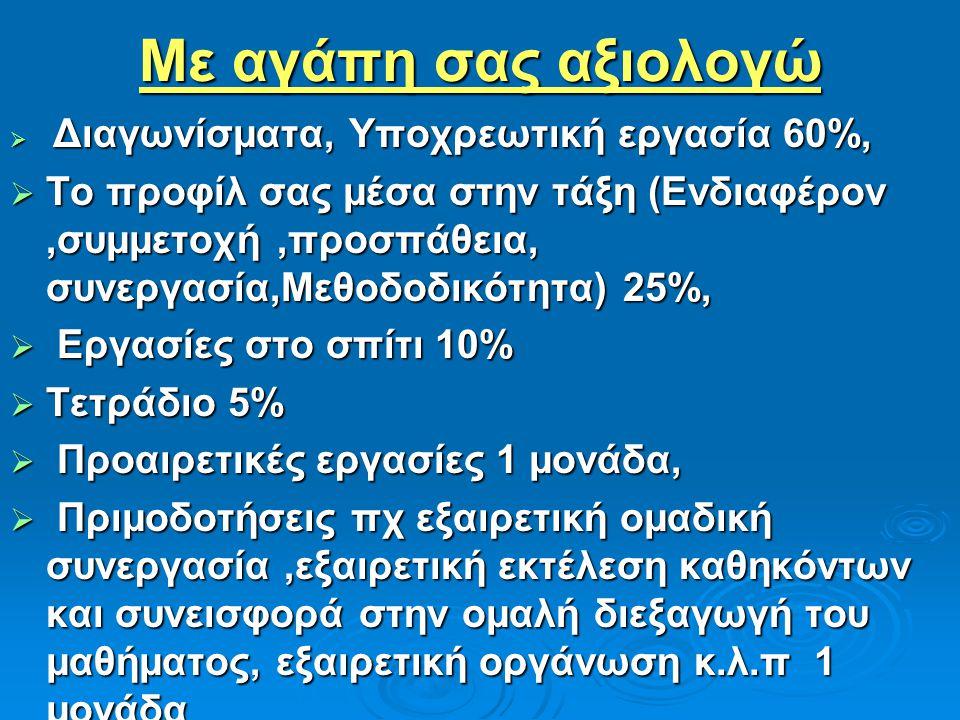 Με αγάπη σας αξιολογώ  Διαγωνίσματα, Υποχρεωτική εργασία 60%,  Το προφίλ σας μέσα στην τάξη (Ενδιαφέρον,συμμετοχή,προσπάθεια, συνεργασία,Μεθοδοδικότητα) 25%,  Εργασίες στο σπίτι 10%  Τετράδιο 5%  Προαιρετικές εργασίες 1 μονάδα,  Πριμοδοτήσεις πχ εξαιρετική ομαδική συνεργασία,εξαιρετική εκτέλεση καθηκόντων και συνεισφορά στην ομαλή διεξαγωγή του μαθήματος, εξαιρετική οργάνωση κ.λ.π 1 μονάδα