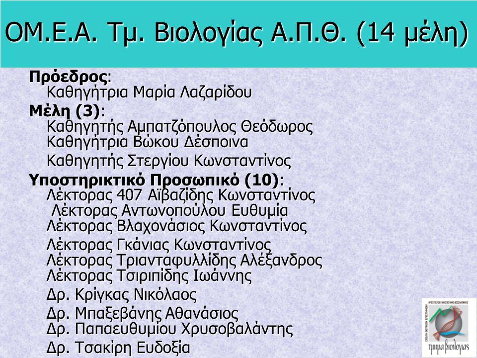 ΟΜ.Ε.Α. Τμ. Βιολογίας Α.Π.Θ. (14 μέλη) Πρόεδρος: Καθηγήτρια Μαρία Λαζαρίδου Μέλη (3): Καθηγητής Αμπατζόπουλος Θεόδωρος Καθηγήτρια Βώκου Δέσποινα Καθηγ