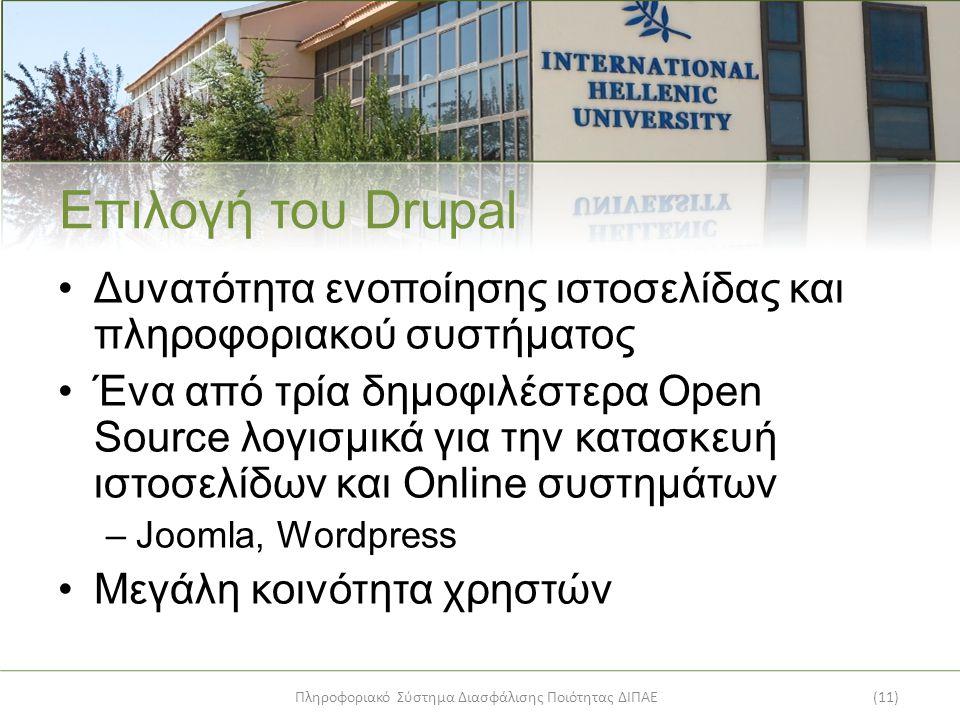 Πληροφοριακό Σύστημα Διασφάλισης Ποιότητας ΔΙΠΑΕ(11) Επιλογή του Drupal Δυνατότητα ενοποίησης ιστοσελίδας και πληροφοριακού συστήματος Ένα από τρία δημοφιλέστερα Open Source λογισμικά για την κατασκευή ιστοσελίδων και Online συστημάτων –Joomla, Wordpress Μεγάλη κοινότητα χρηστών