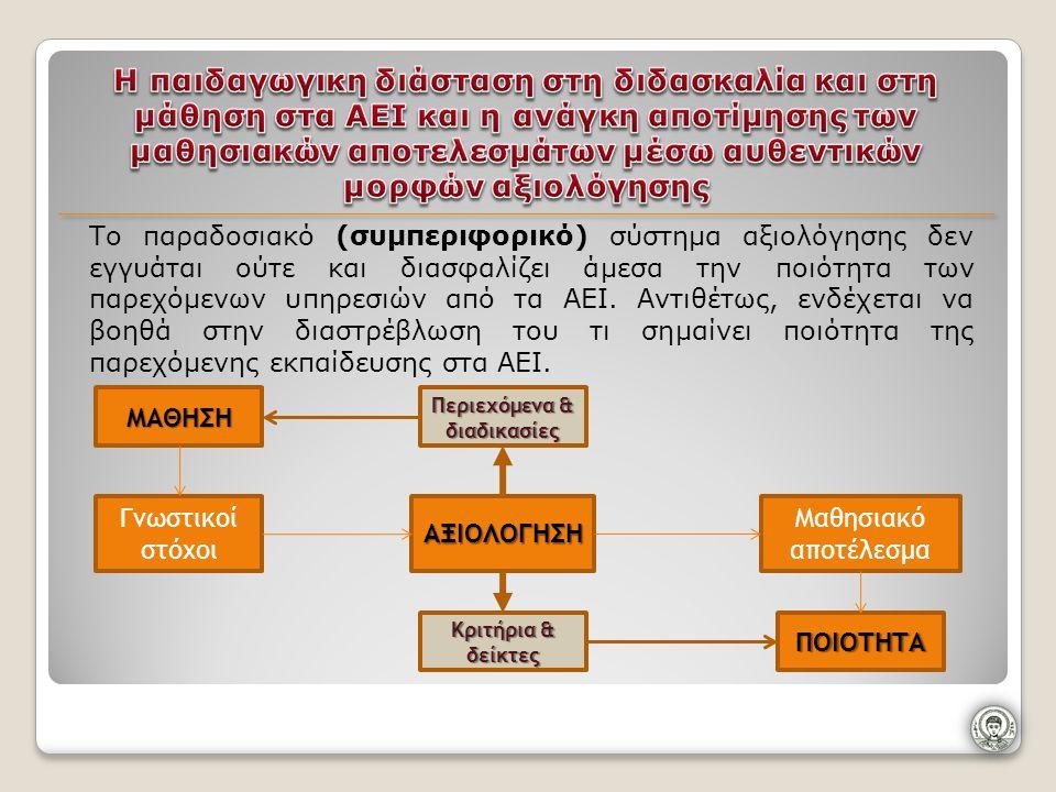 Το παραδοσιακό (συμπεριφορικό) σύστημα αξιολόγησης δεν εγγυάται ούτε και διασφαλίζει άμεσα την ποιότητα των παρεχόμενων υπηρεσιών από τα ΑΕΙ.