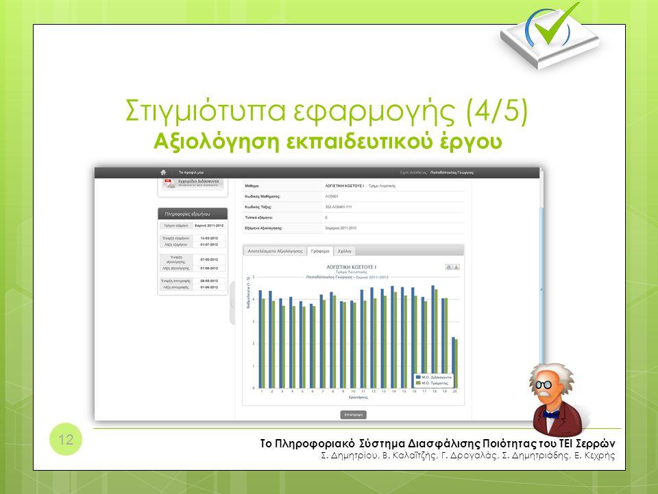 Στιγμιότυπα εφαρμογής (4/5) Αξιολόγηση εκπαιδευτικού έργου Το Πληροφοριακό Σύστημα Διασφάλισης Ποιότητας του ΤΕΙ Σερρών Σ. Δημητρίου, Β. Καλαϊτζής, Γ.
