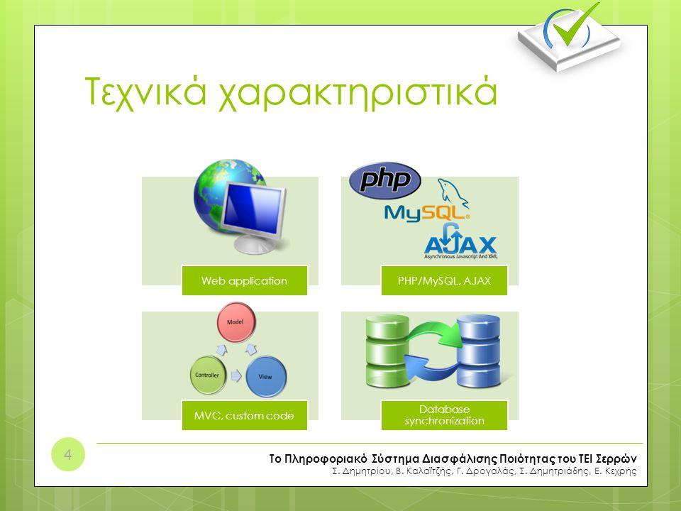Τεχνικά χαρακτηριστικά Web applicationPHP/MySQL, AJAX MVC, custom code Database synchronization Το Πληροφοριακό Σύστημα Διασφάλισης Ποιότητας του ΤΕΙ