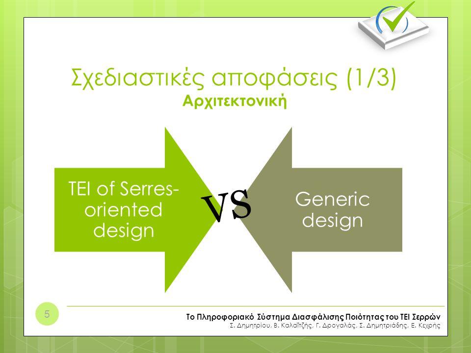 Σχεδιαστικές αποφάσεις (1/3) Αρχιτεκτονική TEI of Serres- oriented design Generic design Το Πληροφοριακό Σύστημα Διασφάλισης Ποιότητας του ΤΕΙ Σερρών