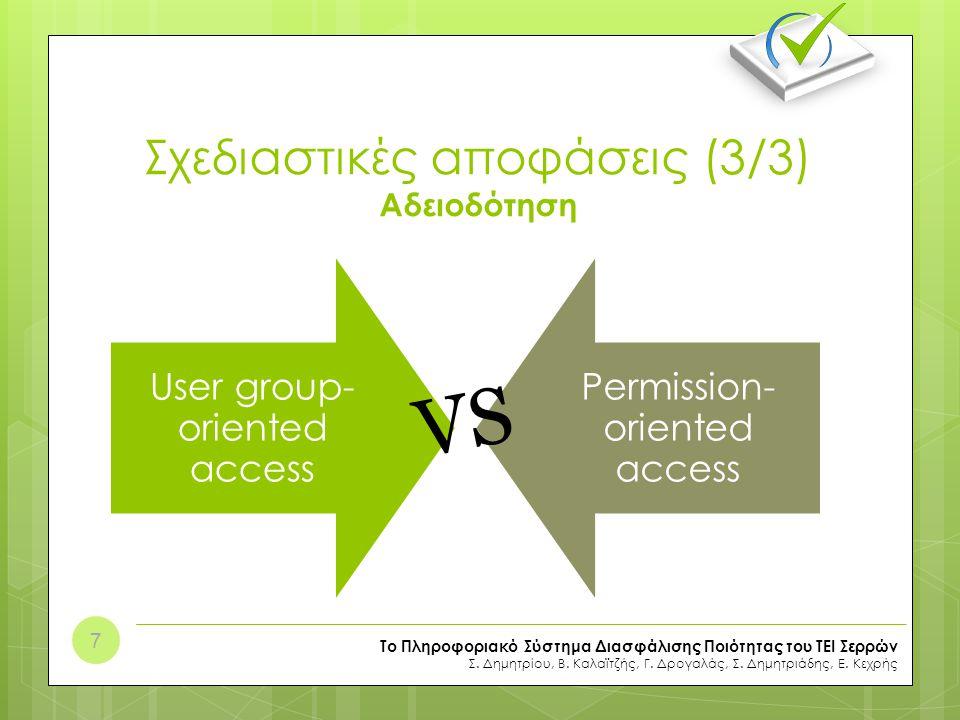 Σχεδιαστικές αποφάσεις (3/3) Αδειοδότηση User group- oriented access Permission- oriented access Το Πληροφοριακό Σύστημα Διασφάλισης Ποιότητας του ΤΕΙ