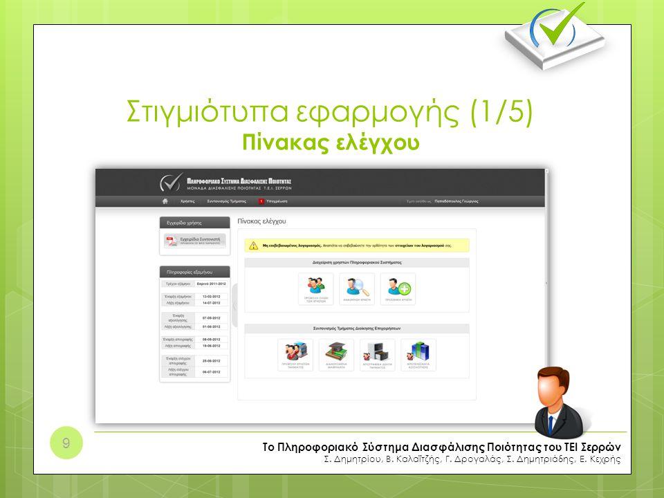 Στιγμιότυπα εφαρμογής (2/5) Απογραφικά Δελτία Διδασκόντων Το Πληροφοριακό Σύστημα Διασφάλισης Ποιότητας του ΤΕΙ Σερρών Σ.
