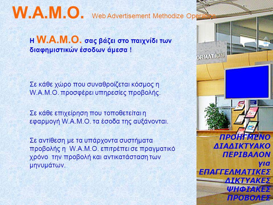 W.A.M.O. Web Advertisement Methodize Operation Σε κάθε χώρο που συναθροίζεται κόσμος η W.A.M.O.