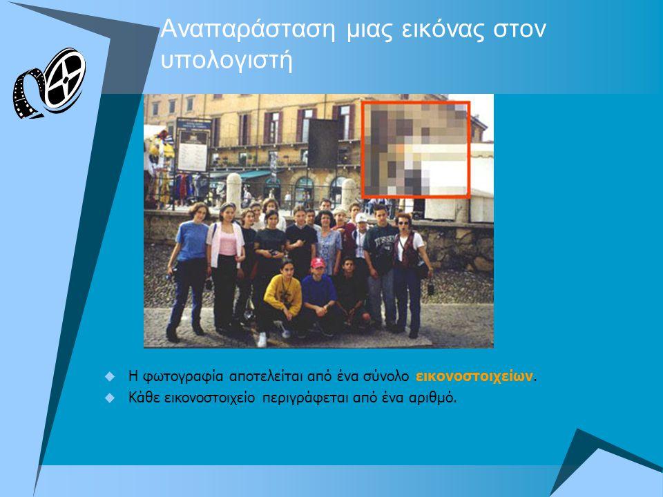 Αναπαράσταση μιας εικόνας στον υπολογιστή  Η φωτογραφία αποτελείται από ένα σύνολο εικονοστοιχείων.  Κάθε εικονοστοιχείο περιγράφεται από ένα αριθμό
