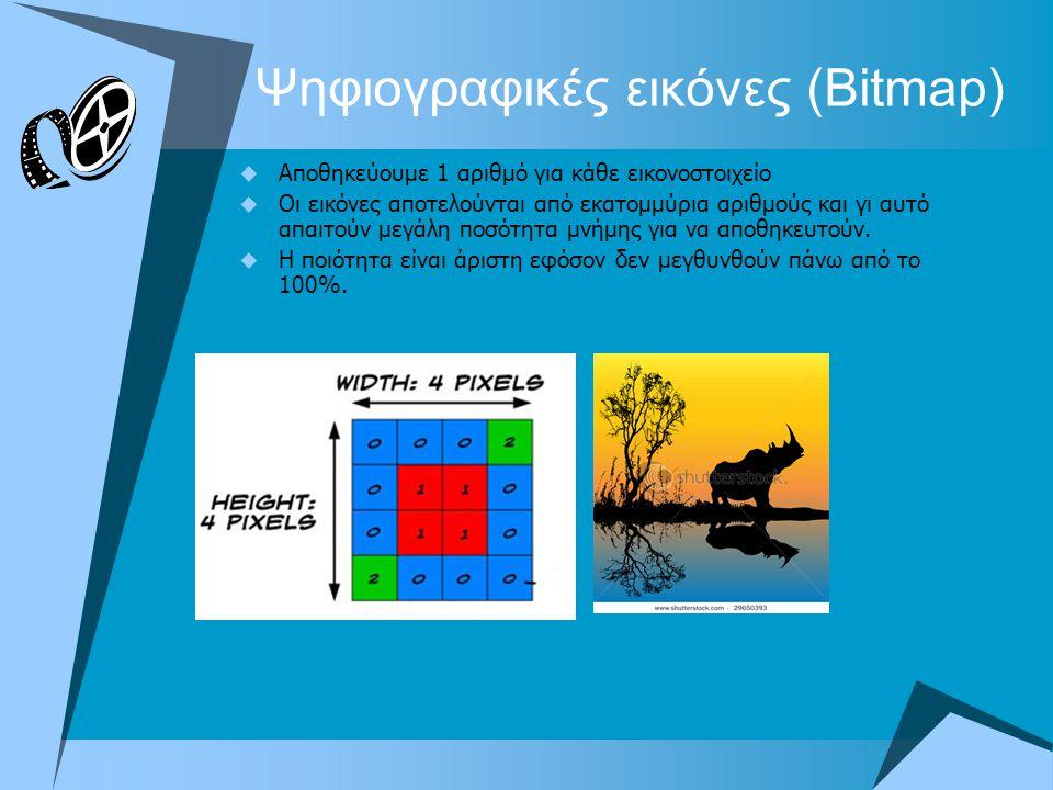 Ψηφιογραφικές εικόνες (Bitmap)  Αποθηκεύουμε 1 αριθμό για κάθε εικονοστοιχείο  Οι εικόνες αποτελούνται από εκατομμύρια αριθμούς και γι αυτό απαιτούν μεγάλη ποσότητα μνήμης για να αποθηκευτούν.