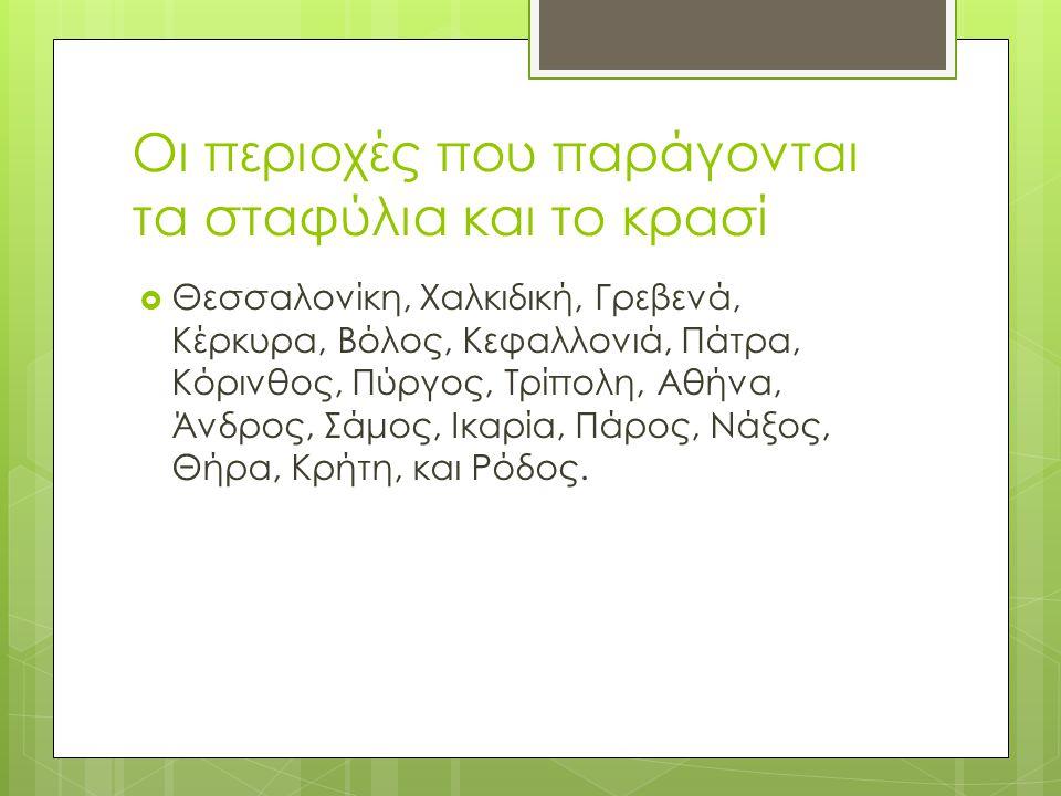 Οι περιοχές που παράγονται τα σταφύλια και το κρασί  Θεσσαλονίκη, Χαλκιδική, Γρεβενά, Κέρκυρα, Βόλος, Κεφαλλoνιά, Πάτρα, Κόρινθος, Πύργος, Τρίπολη, Αθήνα, Άνδρος, Σάμος, Ικαρία, Πάρος, Νάξος, Θήρα, Κρήτη, και Ρόδος.