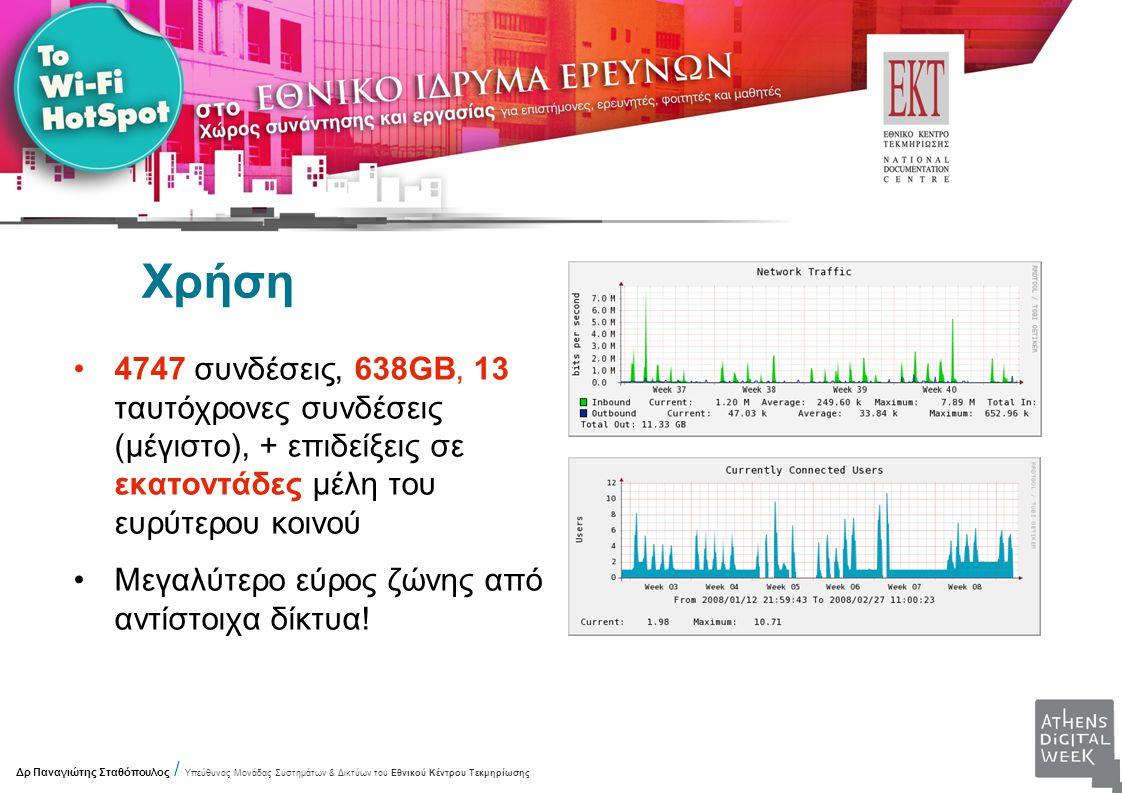 Χρήση 4747 συνδέσεις, 638GB, 13 ταυτόχρονες συνδέσεις (μέγιστο), + επιδείξεις σε εκατοντάδες μέλη του ευρύτερου κοινού Μεγαλύτερο εύρος ζώνης από αντίστοιχα δίκτυα.
