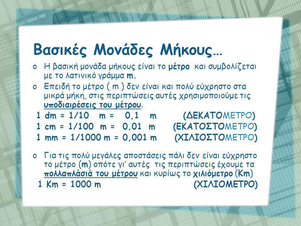 Οι σχέσεις μεταξύ των μονάδων φαίνονται στον παρακάτω πίνακα 1m = 10dm = 100cm = 1000mm 1dm = 10cm = 100mm 1cm = 10mm 1Km = 1000m