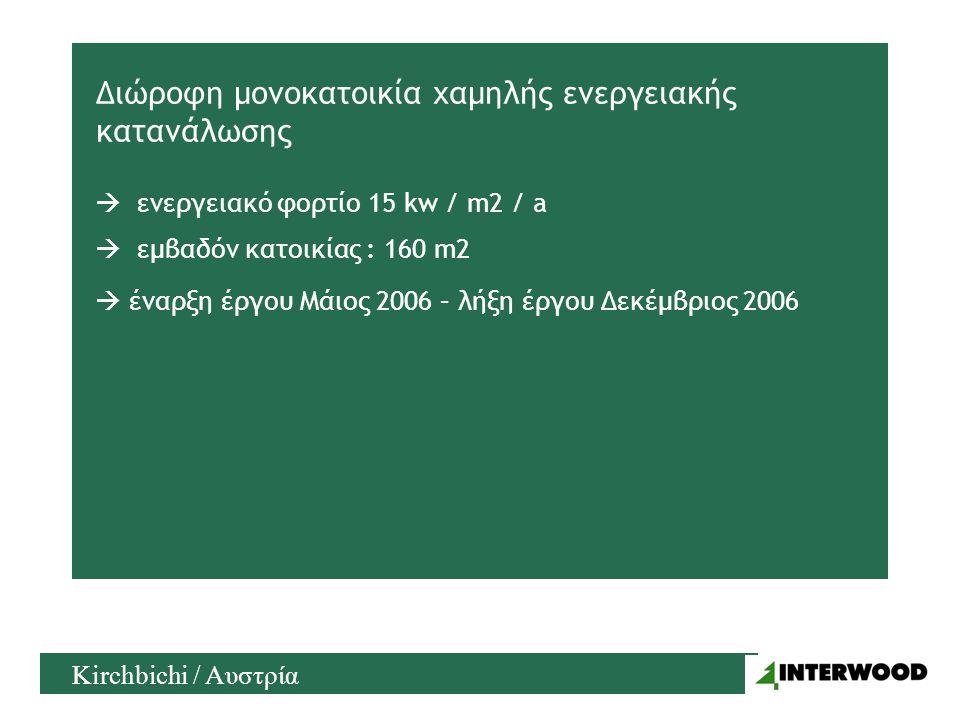 Διώροφη μονοκατοικία χαμηλής ενεργειακής κατανάλωσης  ενεργειακό φορτίο 15 kw / m2 / a  έναρξη έργου Μάιος 2006 – λήξη έργου Δεκέμβριος 2006 Kirchbichi / Αυστρία  εμβαδόν κατοικίας : 160 m2