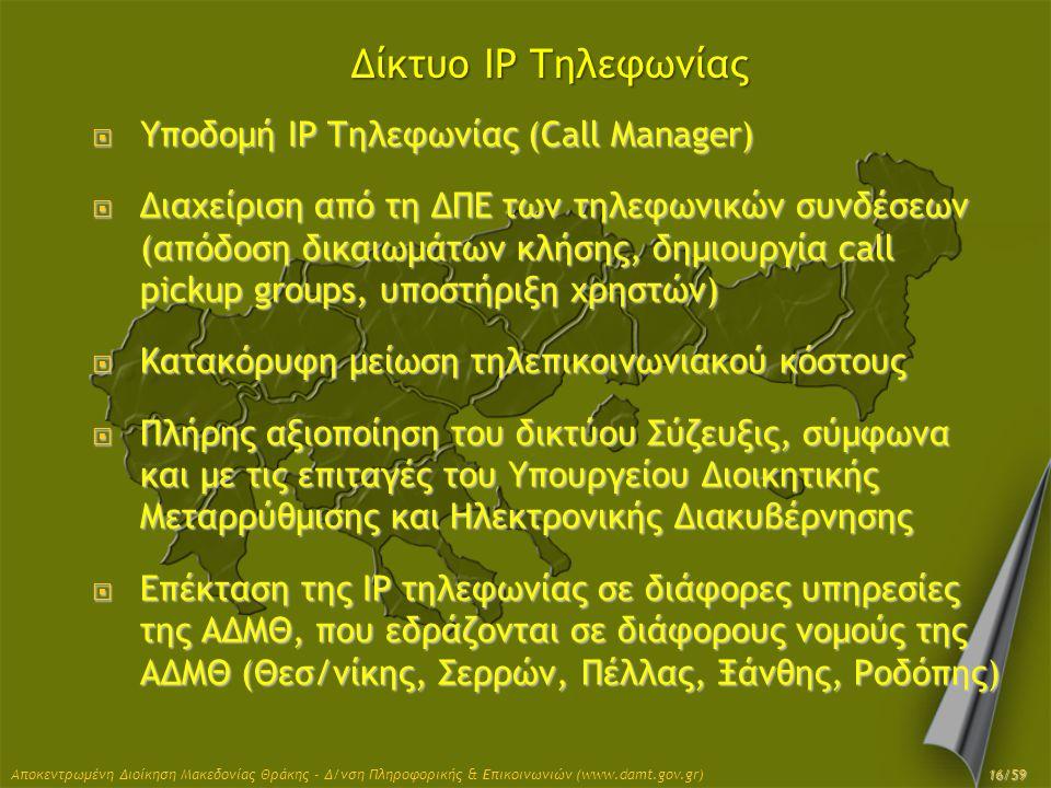 Δίκτυο IP Τηλεφωνίας  Υποδομή IP Τηλεφωνίας (Call Manager)  Διαχείριση από τη ΔΠΕ των τηλεφωνικών συνδέσεων (απόδοση δικαιωμάτων κλήσης, δημιουργία