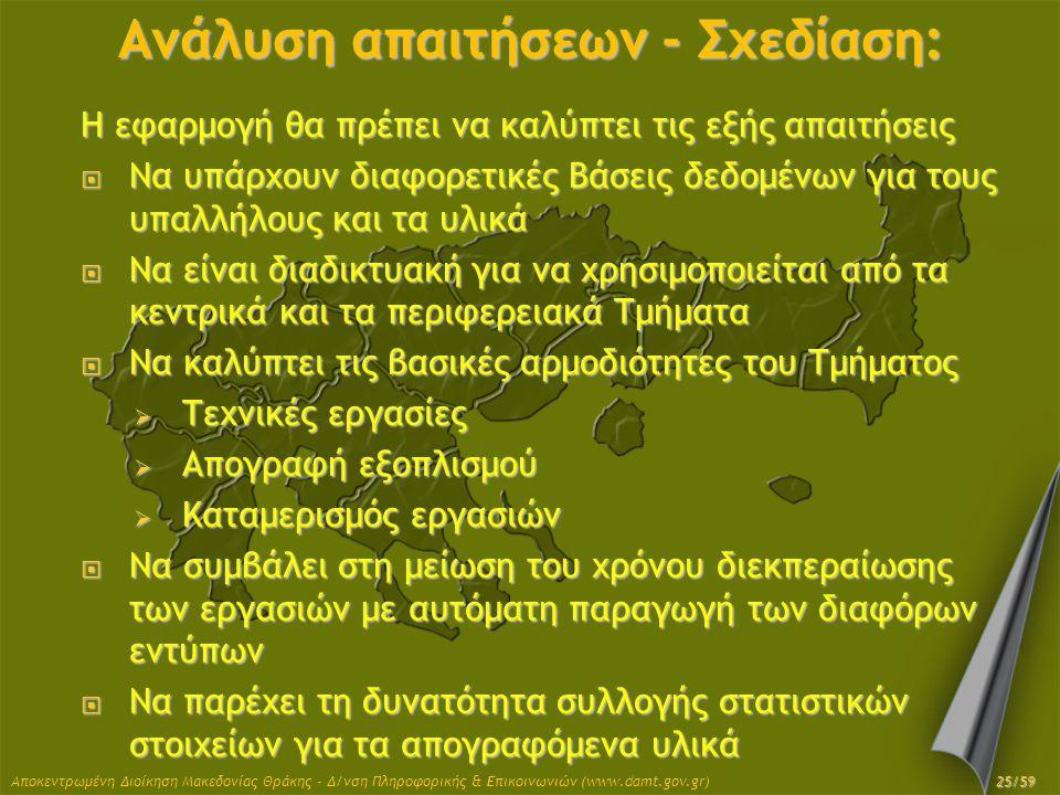 Αποκεντρωμένη Διοίκηση Μακεδονίας Θράκης - Δ/νση Πληροφορικής & Επικοινωνιών (www.damt.gov.gr) Ανάλυση απαιτήσεων - Σχεδίαση: Η εφαρμογή θα πρέπει να