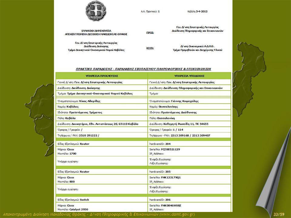 Αποκεντρωμένη Διοίκηση Μακεδονίας Θράκης - Δ/νση Πληροφορικής & Επικοινωνιών (www.damt.gov.gr) 33/59