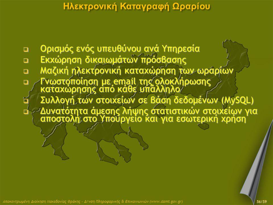 Αποκεντρωμένη Διοίκηση Μακεδονίας Θράκης - Δ/νση Πληροφορικής & Επικοινωνιών (www.damt.gov.gr) Ηλεκτρονική Καταγραφή Ωραρίου  Ορισμός ενός υπευθύνου