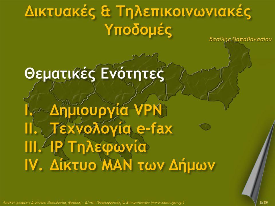 Βασίλης Παπαθανασίου Δικτυακές & Τηλεπικοινωνιακές Υποδομές Θεματικές Ενότητες I.Δημιουργία VPN II.Τεχνολογία e-fax III.IP Τηλεφωνία IV.Δίκτυο MAN των