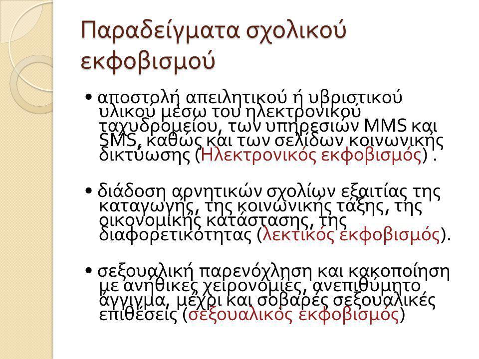 Παραδείγματα σχολικού εκφοβισμού αποστολή απειλητικού ή υβριστικού υλικού μέσω του ηλεκτρονικού ταχυδρομείου, των υπηρεσιών MMS και SMS, καθώς και των