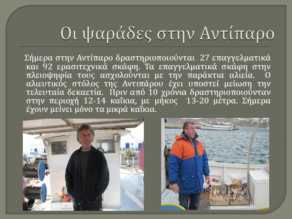 Σήμερα στην Αντίπαρο δραστηριοποιούνται 27 επαγγελματικά και 92 ερασιτεχνικά σκάφη. Τα επαγγελματικά σκάφη στην πλειοψηφία τους ασχολούνται με την παρ