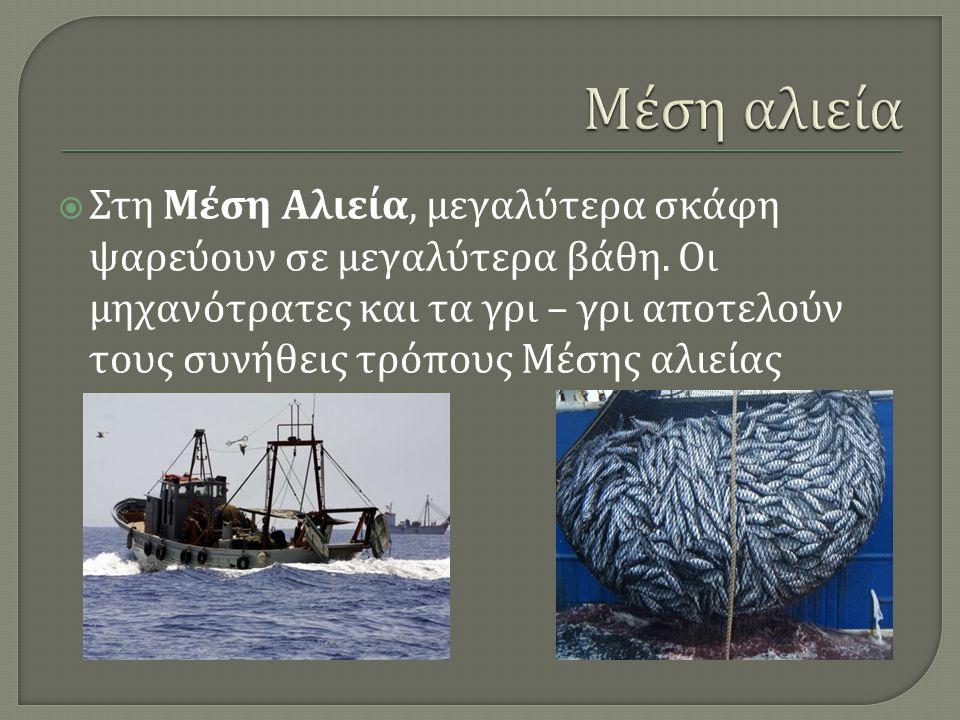  Στη Μέση Αλιεία, μεγαλύτερα σκάφη ψαρεύουν σε μεγαλύτερα βάθη. Οι μηχανότρατες και τα γρι – γρι αποτελούν τους συνήθεις τρόπους Μέσης αλιείας
