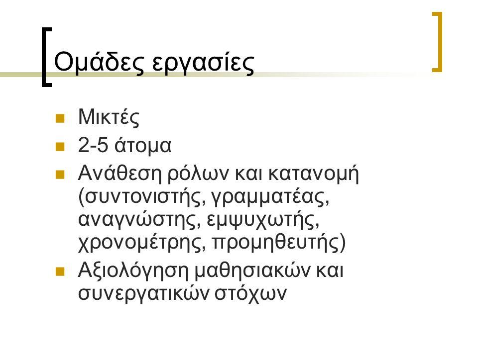 Ομάδες εργασίες Μικτές 2-5 άτομα Ανάθεση ρόλων και κατανομή (συντονιστής, γραμματέας, αναγνώστης, εμψυχωτής, χρονομέτρης, προμηθευτής) Αξιολόγηση μαθη