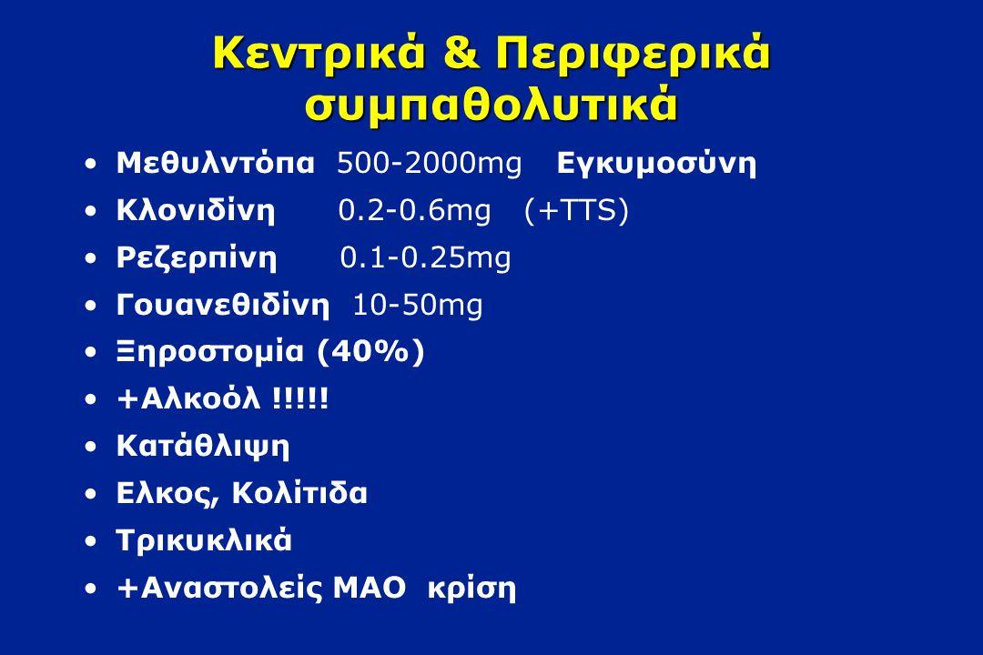 α αδρενεργικοί ανταγωνιστές Πραζοσίνη 5-10mg b.i.d Δοξαζοσίνη 4-16mg q.d Τεραζοσίνη 5-20mg q.d Φαιντολαμίνη, Φαινοξυβενζαμίνη (μή εκλεκτ.) Λαμπεταλόλη, Καρβεδιλόλη (α+β) Προστατισμός Λιπίδια Διαβήτης Φαινόμενο πρώτης δόσης +Διουρητικα, β-αποκλειστές, Βεραπαμίλη !!!!!.