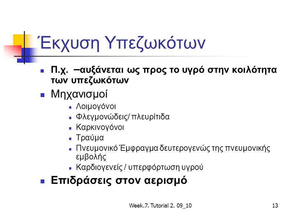 Week.7. Tutorial 2. 09_1013 Έκχυση Υπεζωκότων Π.χ. – αυξάνεται ως προς το υγρό στην κοιλότητα των υπεζωκότων Μηχανισμοί Λοιμογόνοι Φλεγμονώδεις/ πλευρ
