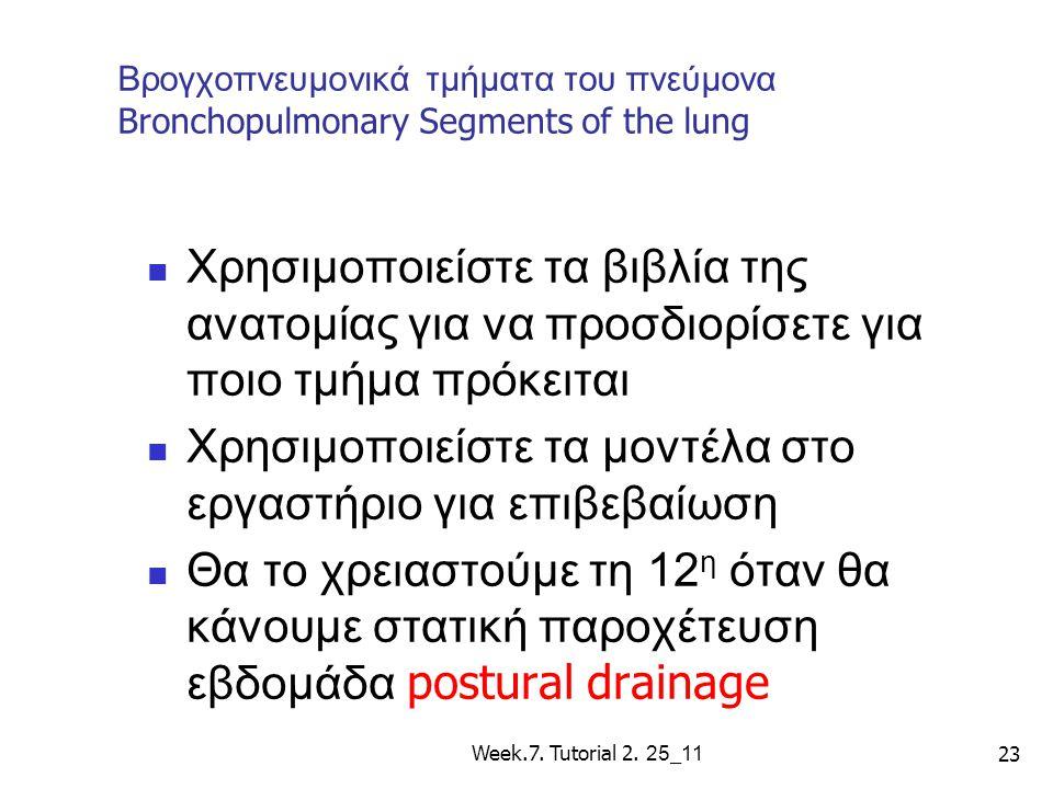 Βρογχοπνευμονικά τμήματα του πνεύμονα Bronchopulmonary Segments of the lung Χρησιμοποιείστε τα βιβλία της ανατομίας για να προσδιορίσετε για ποιο τμήμ