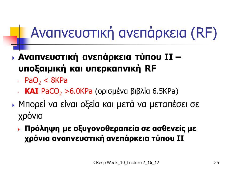 Αναπνευστική ανεπάρκεια (RF)  Αναπνευστική ανεπάρκεια τύπου II – υποξαιμική και υπερκαπνική RF ◦ PaO 2 < 8KPa ◦ ΚΑΙ PaCO 2 >6.0KPa (ορισμένα βιβλία 6