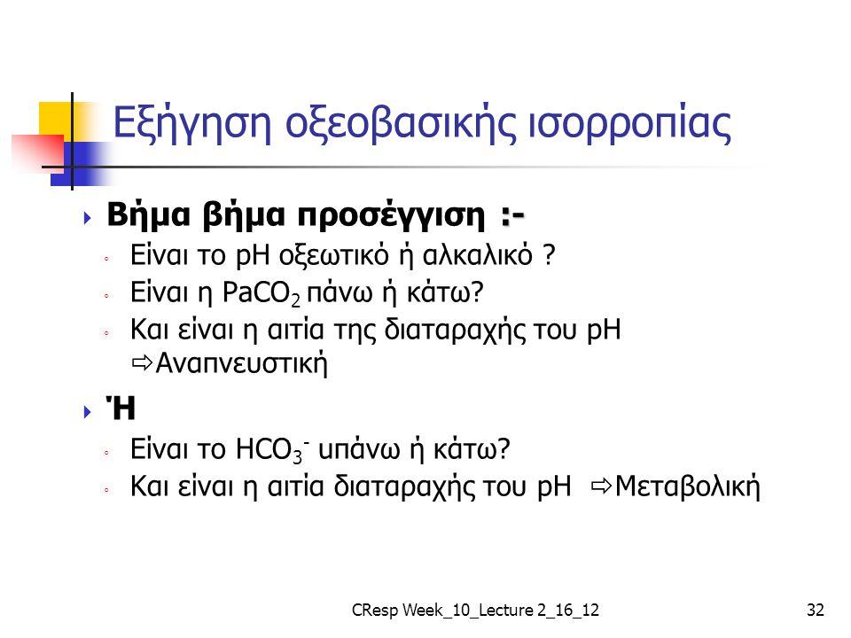 Εξήγηση οξεοβασικής ισορροπίας :-  Βήμα βήμα προσέγγιση :- ◦ Είναι το pH οξεωτικό ή αλκαλικό ? ◦ Είναι η PaCO 2 πάνω ή κάτω? ◦ Και είναι η αιτία της