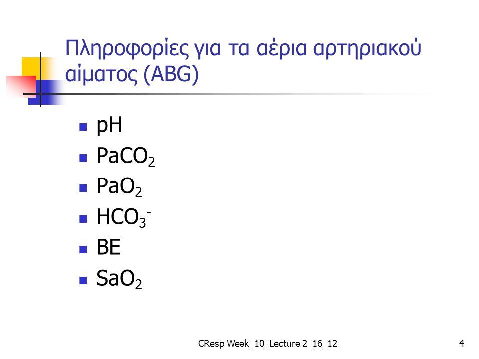 Πληροφορίες για τα αέρια αρτηριακού αίματος (ABG) pH PaCO 2 PaO 2 HCO 3 - BE SaO 2 CResp Week_10_Lecture 2_16_124