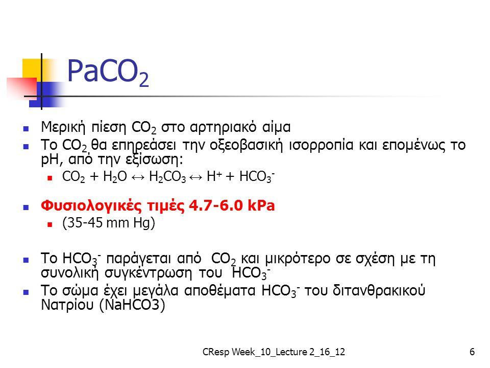 PaCO 2 Μερική πίεση CO 2 στο αρτηριακό αίμα Το CO 2 θα επηρεάσει την οξεοβασική ισορροπία και επομένως το pH, από την εξίσωση: CO 2 + H 2 O ↔ H 2 CO 3