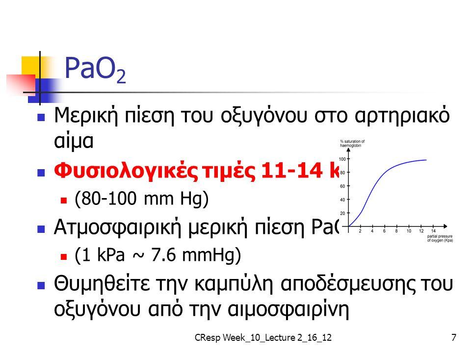 PaO 2 Μερική πίεση του οξυγόνου στο αρτηριακό αίμα Φυσιολογικές τιμές 11-14 kPa (80-100 mm Hg) Ατμοσφαιρική μερική πίεση PaO 2 ~ 20 kPa (1 kPa ~ 7.6 m