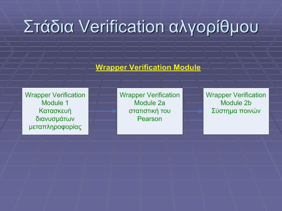 Στάδια Verification αλγορίθμου