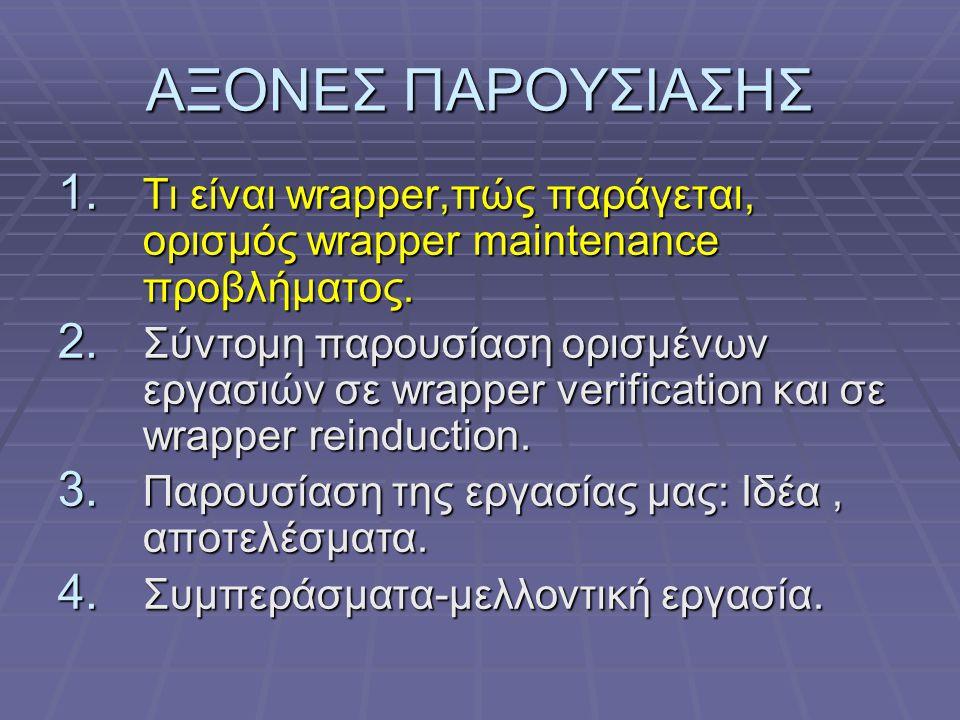 WRAPPER REINDUCTION (Raposo, Pan, Viña, Álvarez )  Αποθήκευση αποτελεσμάτων queries κατά τη διάρκεια της ορθής λειτουργίας του wrapper σε ΒΔ.
