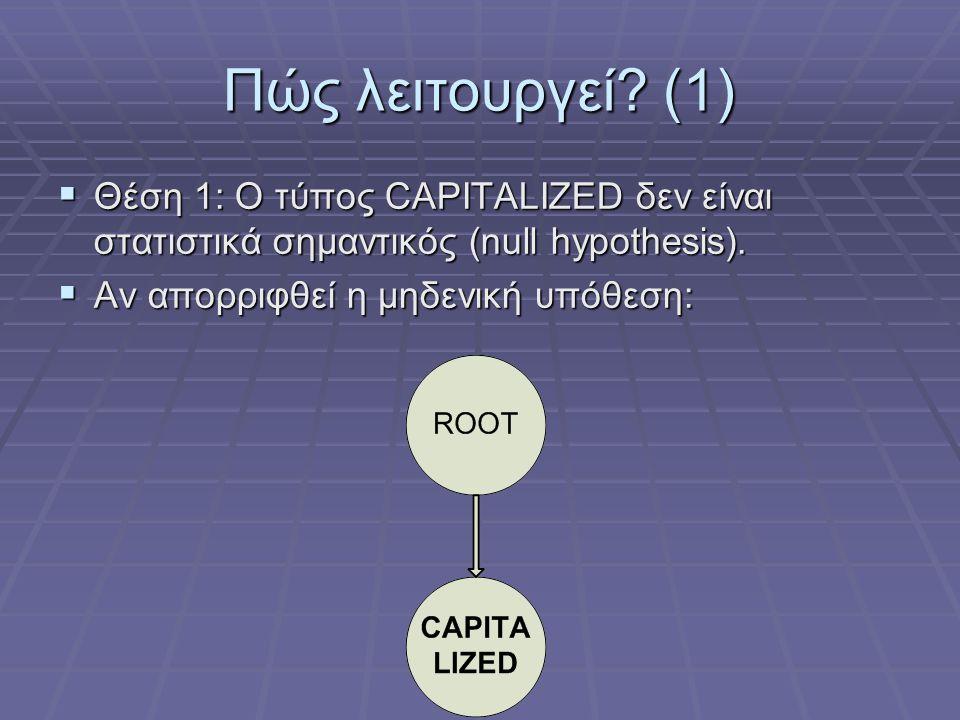Πώς λειτουργεί? (1)  Θέση 1: Ο τύπος CAPITALIZED δεν είναι στατιστικά σημαντικός (null hypothesis).  Αν απορριφθεί η μηδενική υπόθεση: