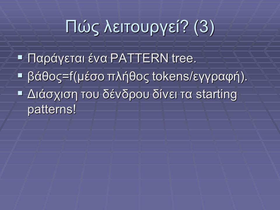 Πώς λειτουργεί? (3)  Παράγεται ένα PATTERN tree.  βάθος=f(μέσο πλήθος tokens/εγγραφή).  Διάσχιση του δένδρου δίνει τα starting patterns!