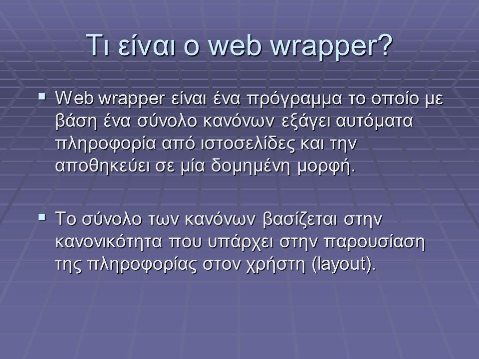 Tι είναι ο web wrapper?  Web wrapper είναι ένα πρόγραμμα το οποίο με βάση ένα σύνολο κανόνων εξάγει αυτόματα πληροφορία από ιστοσελίδες και την αποθη