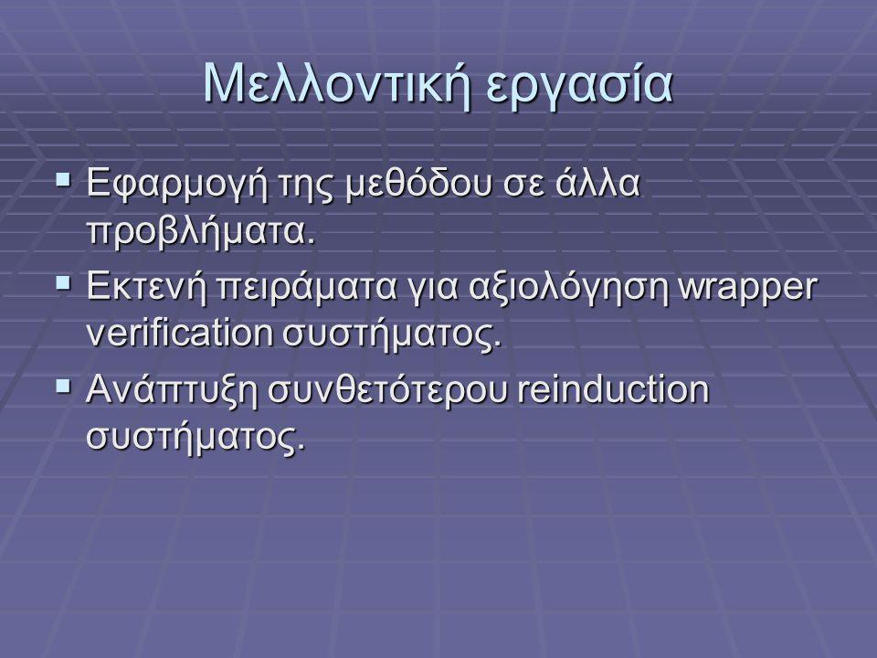 Μελλοντική εργασία  Εφαρμογή της μεθόδου σε άλλα προβλήματα.  Εκτενή πειράματα για αξιολόγηση wrapper verification συστήματος.  Ανάπτυξη συνθετότερ